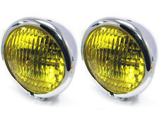 "4.75"" 120mm CHROME Bates Style E-marked Yellow Metal Headlight for Classic Cars"