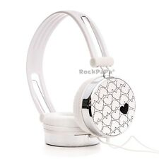 Boys Girls Kids Childs RockPapa Over Ear Love Headphones for HTC LG Sony White