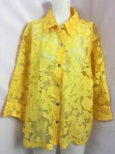 Mirasol Yellow Sheer Floral Tone on Tone Long Sleeve Blouse Women's Size XL
