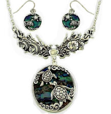 Gorgeous Sea Turtle Necklace and Earring Set Abalone Shell Fast Shipping