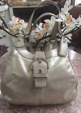 Coach Hoho Buckle Shimmer Champagne Gold Metallic Leather Handbag Purse F17219
