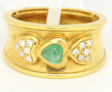 Vintage 18k Yellow Gold 0.55tcw Emerald W/ Diamonds Bezel Band Ring Size 6