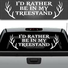I'd Rather Be In My Treestand Truck Window Decal, Hunting Window Sticker