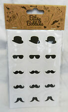 Pack of 60 Moustache, Bowler Hat and Glasses Stickers