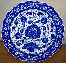 "Carnation Handpainted 12"" (30cm) Turkish Blue & White Iznik Ceramic Plate"