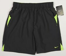 Men's NIKE Charcoal Gray Grey Yellow Athletic Shorts Swim Trunks L Large NWT NEW