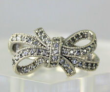 Sterling Silver Cubic Zirconia Looping Ribbon Bow Band Ring Size 6.75