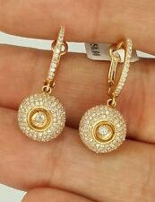 NEW 14K 585 ROSE GOLD ROUND DIAMOND FLOWER HANGING DROP DANGLE RUSSIAN EARRINGS