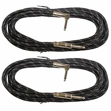 2PACK 20 ft foot right angle to straight 1/4 guitar instrument cable BLACK woven