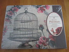 Sheffield Home Set of 4 Romantic Birdcage Floral Cork Backed French Placemats