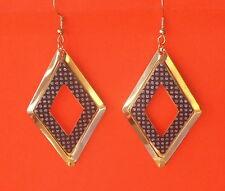 Bonito Metal Tono Oro & Plateado Brillante Gancho Pendientes Colgantes de Forma de Diamante-Reino Unido