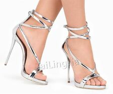 Womens Ladies Heels Ankle Strappy Sandals Open Toe Shoes Roman Sandals Size
