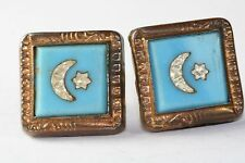 VICTORIAN ANTIQUE GOLD FILLED BLUE GLASS MOON STAR CUFF BUTTONS CUFFLINKS
