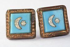 VICTORIAN ANTIQUE GOLD FILLED BLUE GLASS MOON STAR CUFF BUTTONS CUFFLINKS