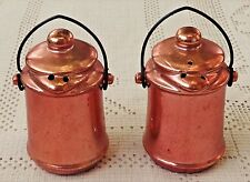 VINTAGE 1950's COPPER COLORED METALLIC KETTLE SALT & PEPPER SHAKERS - JAPAN