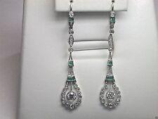 Antique European Diamond Earrings Platinum Emeralds EGL USA Art Deco Vintage