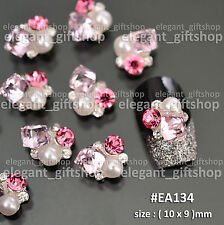 3D Nail Art Tips Jewelry Decoration Pink Cube Pearl Glitter Rhinestones  #EA_134