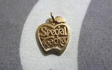 """James Avery Retired 14k Gold Special Teacher In Apple Charm Pendant 3/4"""" Long"""