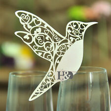 60 Ivory Bird Wedding Party Glass Place Name Card Laser Cut on Pearlescent Card
