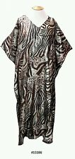 Ladies leopard/tiger printed satin long kaftan/holiday/beach dresses fit 10-32