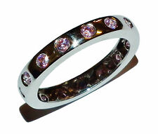 Fully Hallmarked 14ct White Gold & Pink Cubic Zirconia Full Eternity Ring- UK: K