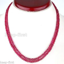 Rare 2 Rows 5x8mm Faceted Red Ruby Round Gemstone Beads Necklace 17-18 Inch AAA