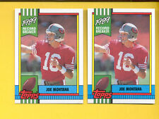 1990 Topps JOE MONTANA 49ers Record Breaker Card  both Disclaimer Versions