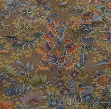 Japanese vintage kimono silk fabric Butterflies and Kiri Flower
