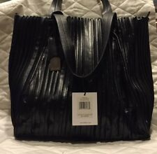 New Calvin Klein Pleated Handbag Tote Purse Jacquard Black with Tags