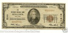 $20.00 Circulated 1929 National Bank Note Herkimer, Ny. T1 Charter #5141