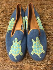 Stubbs & Wootton Green Turtle Needlepoint Shoes Flats 6.5 Palm Beach Blue