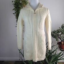 Aran Mor Small Cream Full Zip Cable Knit Merino Wool Irish Long Sweater S NWT