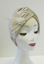 Ivory Cream Feather Pearl Turban Headpiece 1920s Great Gatsby Flapper Silver U87