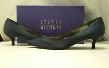 Stuart Weitzman Poco Navy Satin Women's Evening Low Heel Pumps Size 8.5 M