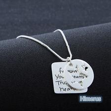 """""""Follow Your Dreams Trust Your Heart"""" Letter Pentagram Silver Pendant Necklace"""