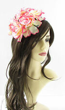 Large Cream Pink Rose Flower Fascinator Headpiece Races Floral Hat Rockabilly 20