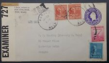 USA 1942 Uprated Stationery Cover, Norton, MA 》 Tunbridge Wells GB w Censor Tape