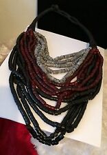 Massive Black Gray & Cherry Resin Tube Bead Statement Necklace #hg10