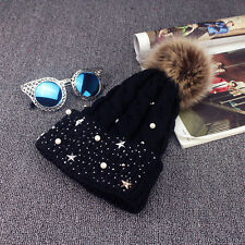 Fashion Women Lady Faux Fur Ball Winter Warm Crochet Knitted Hat Cap Beanie