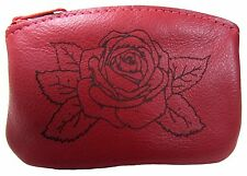 New Leather Red Rose Flower Zippered Change Purse USA Made