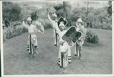 1990 Indian Men with Shield and Spear Original News Service Photo