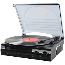 JENSEN RETRO 3-SPEED 33/45/78 RPM TURNTABLE RECORD PLAYER w/ STEREO SPEAKERS NEW