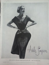 1951 Adele Simpson Womens Baroque Brocade Pure Silk w Butterfly Skirt Dress Ad