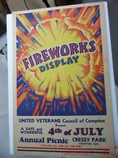 c.1945 Cressey Park Compton California Fireworks Display Window Card Poster Sign