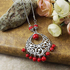 Bohimian Style Fashion Jewelry Antique Silver Pld Red Turquoise Necklace Pendant