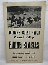 Holmans Guest Ranch Poster Carmel Valley California Rodeo Cowboy Western Vtg Old