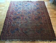 Antique 19th C. Afghan Ersari Turkoman Rug Hand Knotted Wool 6.5x7.5' Distressed
