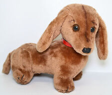 "R Dakin Dachshund Puppy Weiner Dog Brown 12"" Plush Red Collar Vintage Toy 1976"