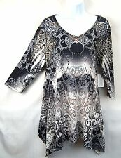 ONE WORLD Womens 1X Gray Ivory & Ginger Graphic Top Tunic Blouse Shirt Plus NWT
