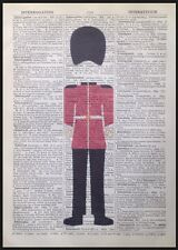 Beefeater Queens Guard Print Vintage Dictionary Page Wall Art Picture London